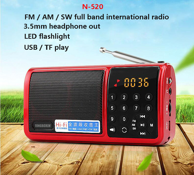 N520 Digital World Full Band am fm sw Radio Mini TF USB MP3 Speaker Portable LED Flashlight With 18650 Rechargeable Battery