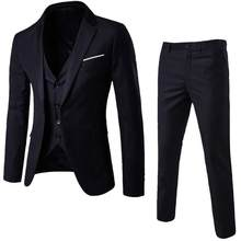 3 piece Men's Blazer Suit for Wedding Slim fit Business Office Groom Party Jacket Costumes Korea Men Suit with Pants Vest 3XL(China)