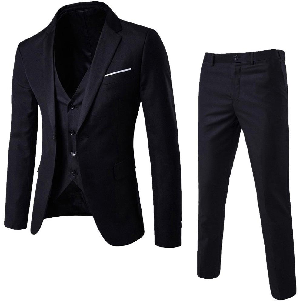 3 Piece Men's Blazer Suit For Wedding Slim Fit Business Office Groom Party Suit Costumes Korea Men Suit With Pants Vest S-3XL #0
