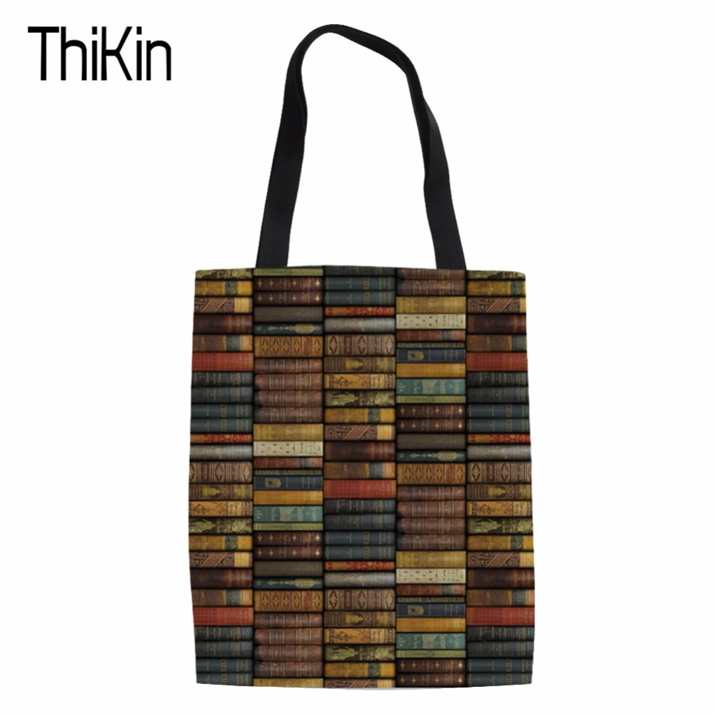 Detail Feedback Questions about THIKIN Canvas Environmental Protection Mom Shopping  Bag Library Printing Fashion Women s Handbags Tote Bag Books Shoulder ... 2e8b9ee8b577e