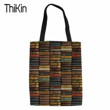 THIKIN Canvas Environmental Protection Mom Shopping Bag Library Printing Fashion Women's Handbags Tote Bag Books Shoulder Bags(China)