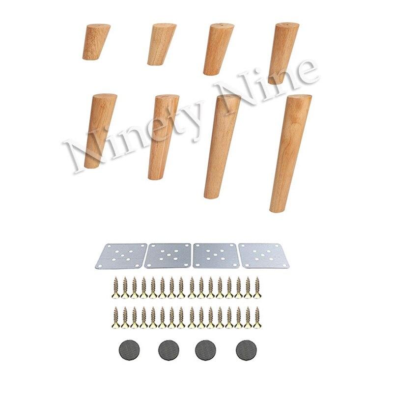 4 unids/lote de muebles de patas de madera maciza, sofá cama de cono inclinado, gabinete, mesa y silla de reemplazo, pies ranurados