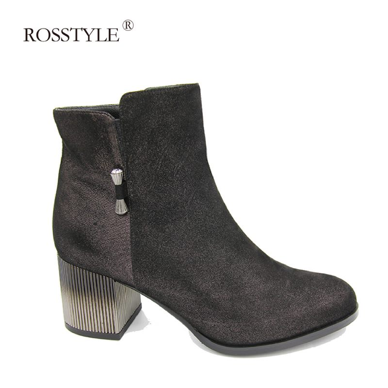 ROSSTYLE Luxury Quality Genuine Leather Round Toe Shoes Soft Thick Heel Lady Ankle Boot Spring Autumn Ladies Size 36-40 B23