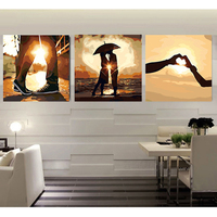 Triptych painting modular wall pictures diy oil paintings on canvas coloring by numbers Love & forever picture by numbers RS188