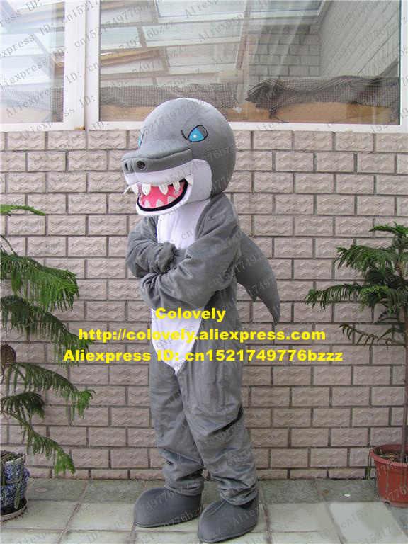 Sengit Abu-abu Hiu Kostum Maskot Mascotte Selachimorpha Whale Cetacean dengan Biru Mengerikan Mata Merah Muda Besar Mulut No 532 Kapal Gratis