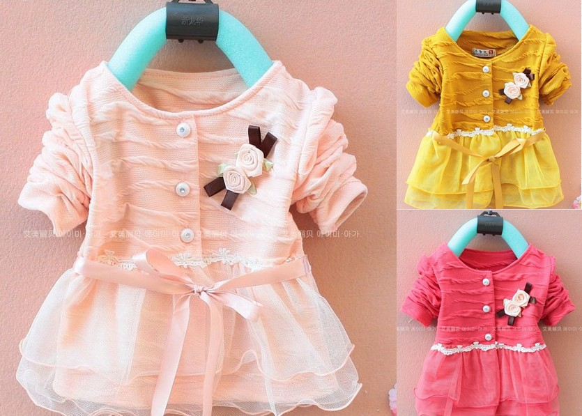 Retail 1pcs free shipping Children's 2014 Autumn Korean girls cardigan T-shirt Girls baby long-sleeved dress