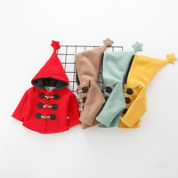 Brand new Autumn winter Thick star hat boys and girls thick horns deduction jacket Japan Korean children cashmere jacket 00089