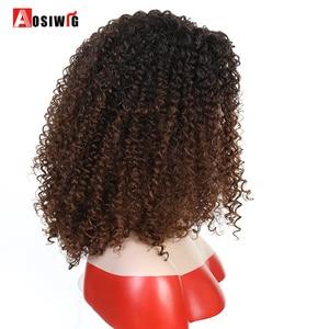 Image 3 - Krótki Afro perwersyjne peruki syntetyczne z kręconymi włosami dla czarnych kobiet Ombre brązowy naturalne Afro kręcone peruki z grzywką na imprezę Cosplay peruki AOSIWIG