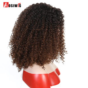 Image 3 - Short Afro Kinky Curly Synthetic Wigs For Black Women Ombre Brown Natural Afro Curly Wigs With Bangs Cosplay Party Wigs AOSIWIG