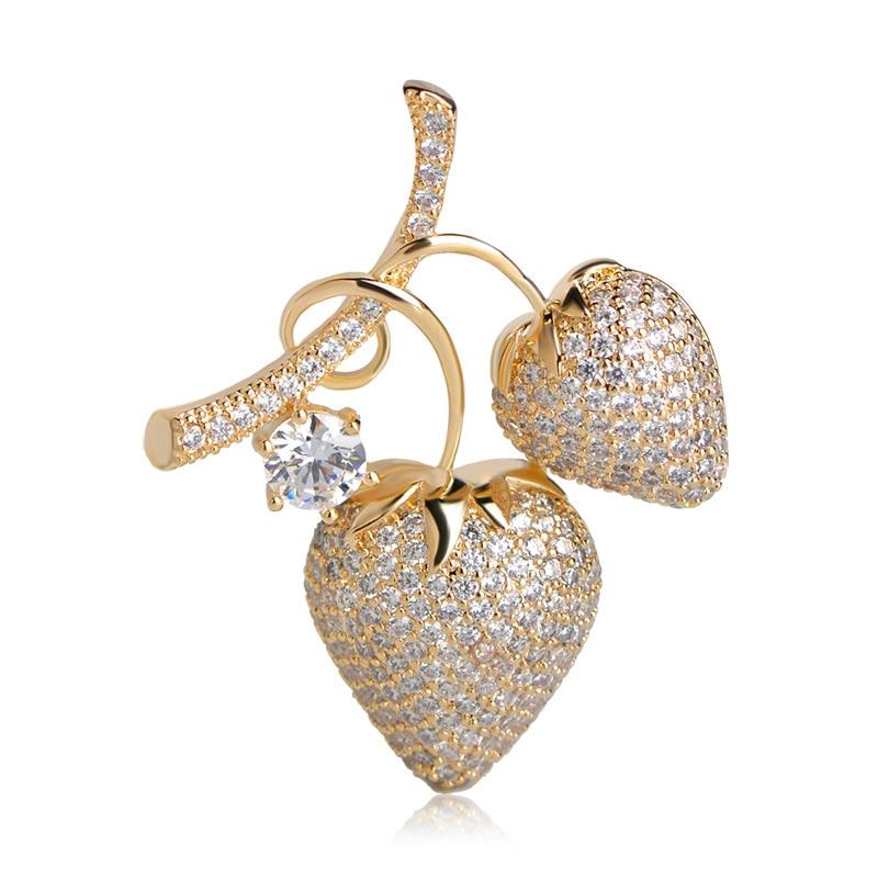 Blucome moda vivid cereza Broches para las mujeres Niñas completo cuibic oro-color broche Pasadores bufanda vestido Clips bijouteries