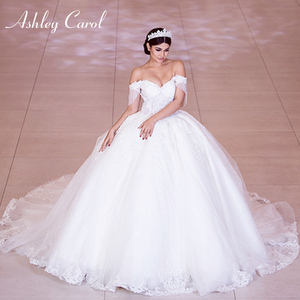 Image 3 - Ashley Carol Sexy Sweetheart Royal Train Ball Gown Wedding Dress 2020 Luxury Beaded Cap Sleeve Lace Up Princess Robe De Mariee