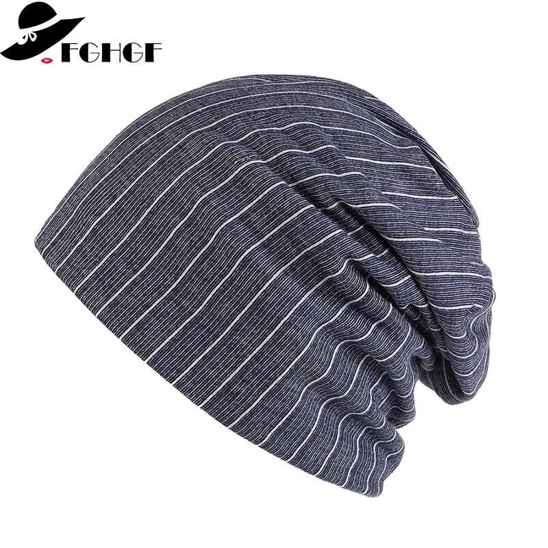 FGHGF Unisex Autumn Winter Cotton Cap Soft Comfortable Man Women Plain Striped Hats   Skullies     Beanies   Breathable Chemo Hat Bonnet