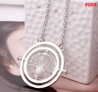 Free DHL 100pcs lot Wholesale Fashion Jewelry Potter Time Turner Pendant Necklace Sand Glass Necklace For