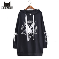 2017 New Women Hoodies Japan Cartoon Rabbit Printed Long Pullover Girly Girl Kawaii Cute Harajuku Full