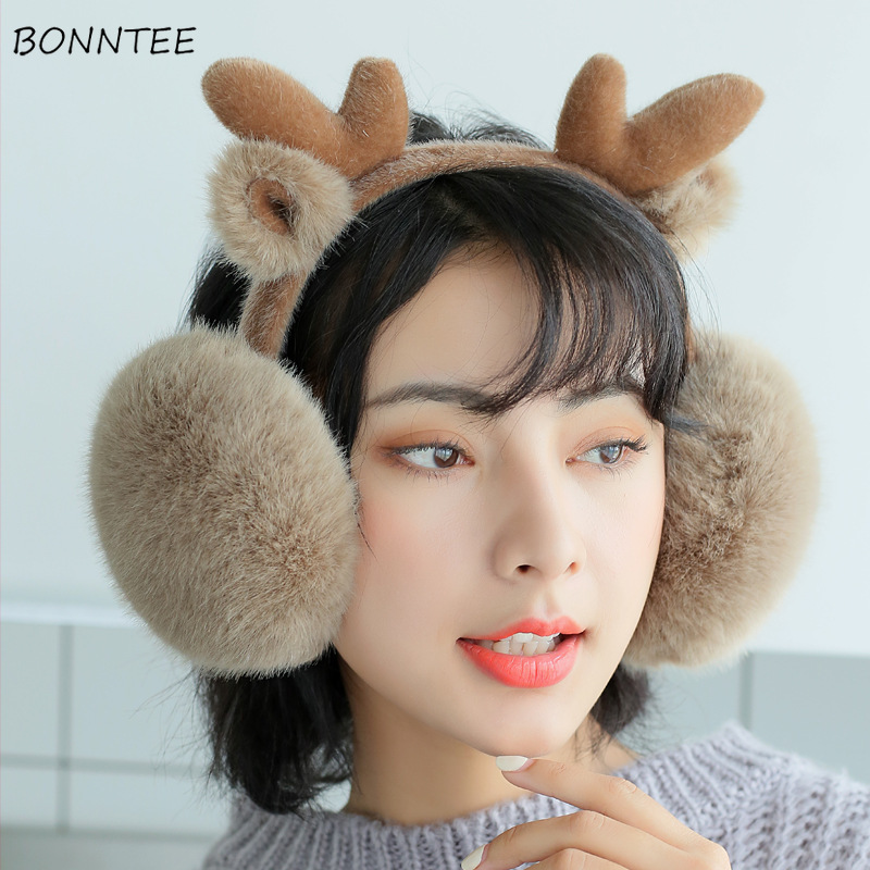 Earmuffs Women 2019 Winter Trendy Students Kawaii Animal Cartoon Deer Womens Earmuff High Quality Warm Ladies Ear Warmers Lovely