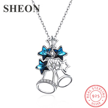 Hot sale 100% 925 Sterling Silver Personality bell Crystal Pendant Necklaces fine Jewelry for Christmas gifts dropshipping