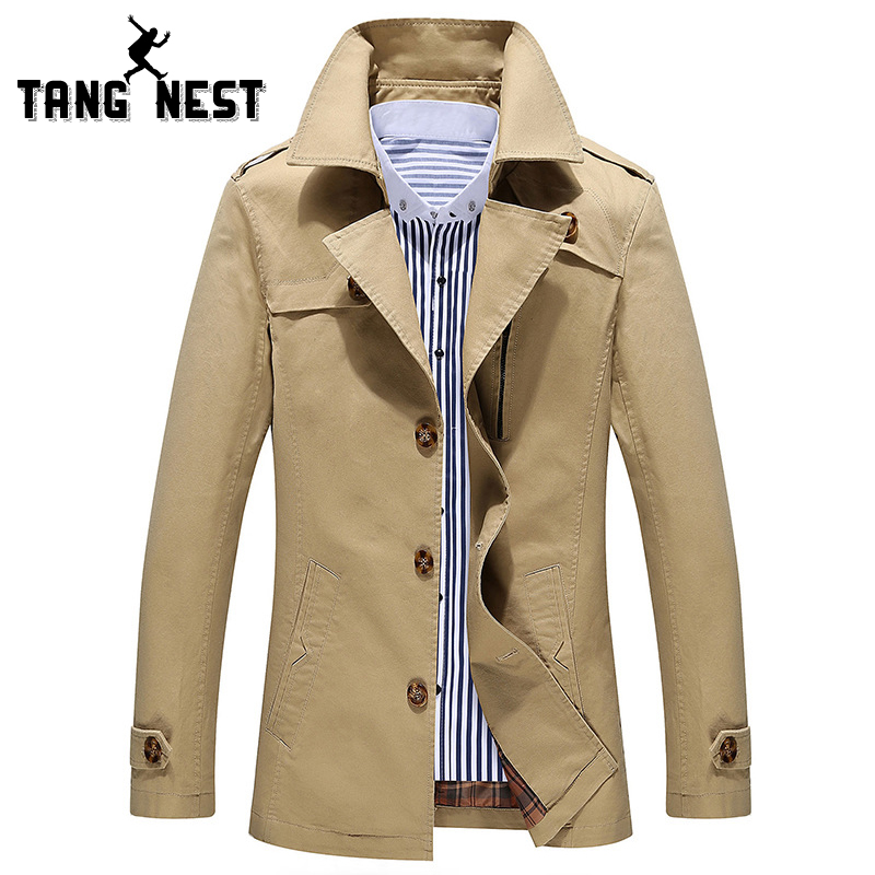 TANGNEST Trench Coat 2017 New Arrival Business European Style Slim Fit High Quality Wind Coat Autumn