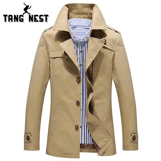 Tangnest gabardina 2017 recién llegado de negocios y estilo europeo Slim Fit Trench Viento Abrigo de Otoño de los Hombres Populares de Alta Calidad MWF175