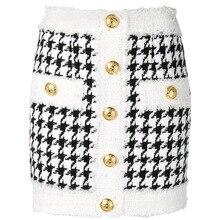 Женская твидовая мини юбка, юбка из твида с бахромой, пуговицами в виде льва, в стиле барокко, Осень зима 2020