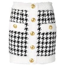 高品質最新 2020 秋冬バロックデザイナースカート女性のフリンジライオンボタン千鳥格子ツイードミニスカート