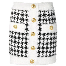 Fringed Lion Buttons Houndstooth Tweed Mini Skirt