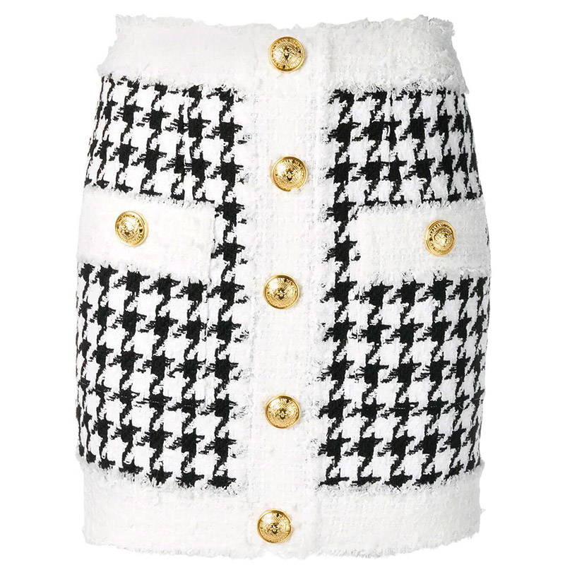 HIGH QUALITY Newest 2020 <font><b>Fall</b></font> Winter Baroque Designer <font><b>Skirt</b></font> Women's Fringed Lion Buttons Houndstooth Tweed Mini <font><b>Skirt</b></font> image
