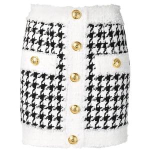 Image 1 - Hoge Kwaliteit Nieuwste 2020 Fall Winter Barokke Designer Rok Vrouwen Omzoomd Leeuw Knoppen Houndstooth Tweed Mini Rok