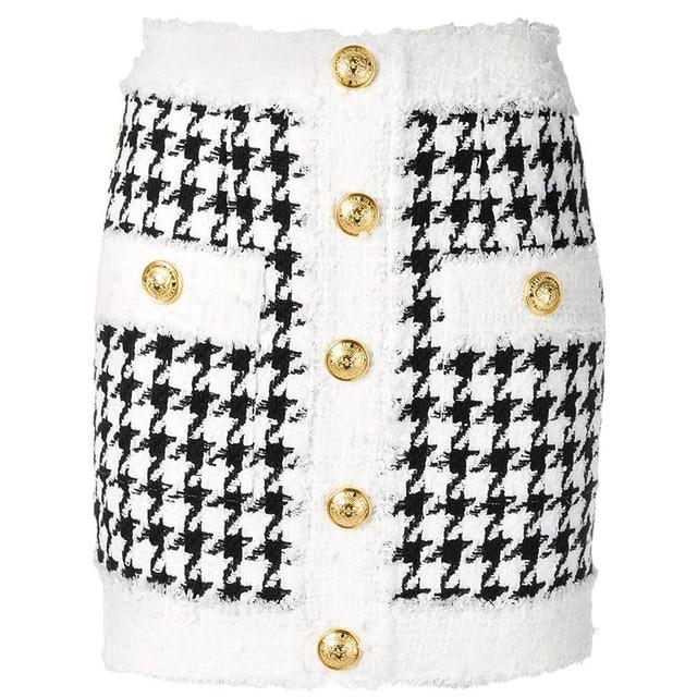 Hoge Kwaliteit Nieuwste 2020 Fall Winter Barokke Designer Rok Vrouwen Omzoomd Leeuw Knoppen Houndstooth Tweed Mini Rok