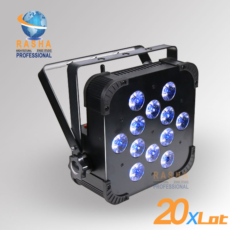 20X LOT Quad 12*10W 4in1 RGBW/RGBA Wireless LED Flat Par Light LED Slim Par Can Stage Projector For Event Party DMX Stage Light 2x lot rasha quad 7pcs 10w rgba rgbw 4in1 dmx512 led flat par light wireless led par can for disco stage party