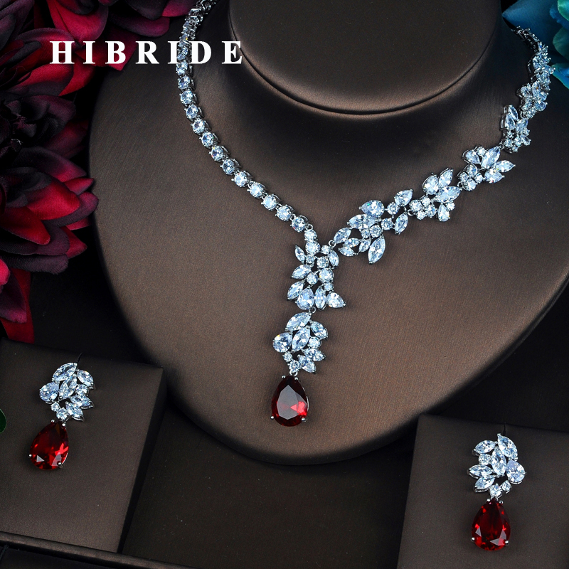 HIBRIDE Beautiful Design Full Cubic Zirconia Women Bride Jewelry Sets Earring Set Wedding Accessories Gifts Wholesale