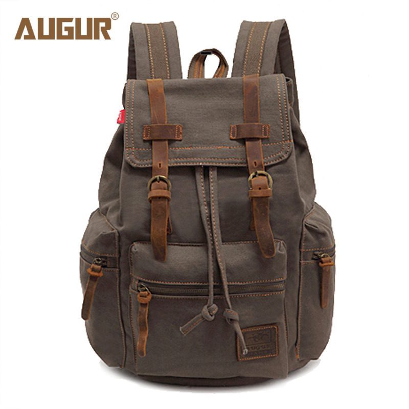 AUGUR male and female vintage canvas backpack girl school bag man travel large capacity bag men