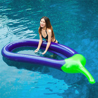 Inflatable Eggplant Floating Row Floating Grid Bed Swimming Ring Toy Lounge Raft Hammock Pool Sea Toy for Adult and Kids 87x43