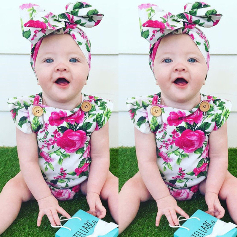 Baby Rompers Summer Baby Girl Clothes Fashion Kids Clothes 2017 Newborn Baby Clothes Flower Infant Jumpsuitst Children Clothing baby clothing summer infant newborn baby romper short sleeve girl boys jumpsuit new born baby clothes
