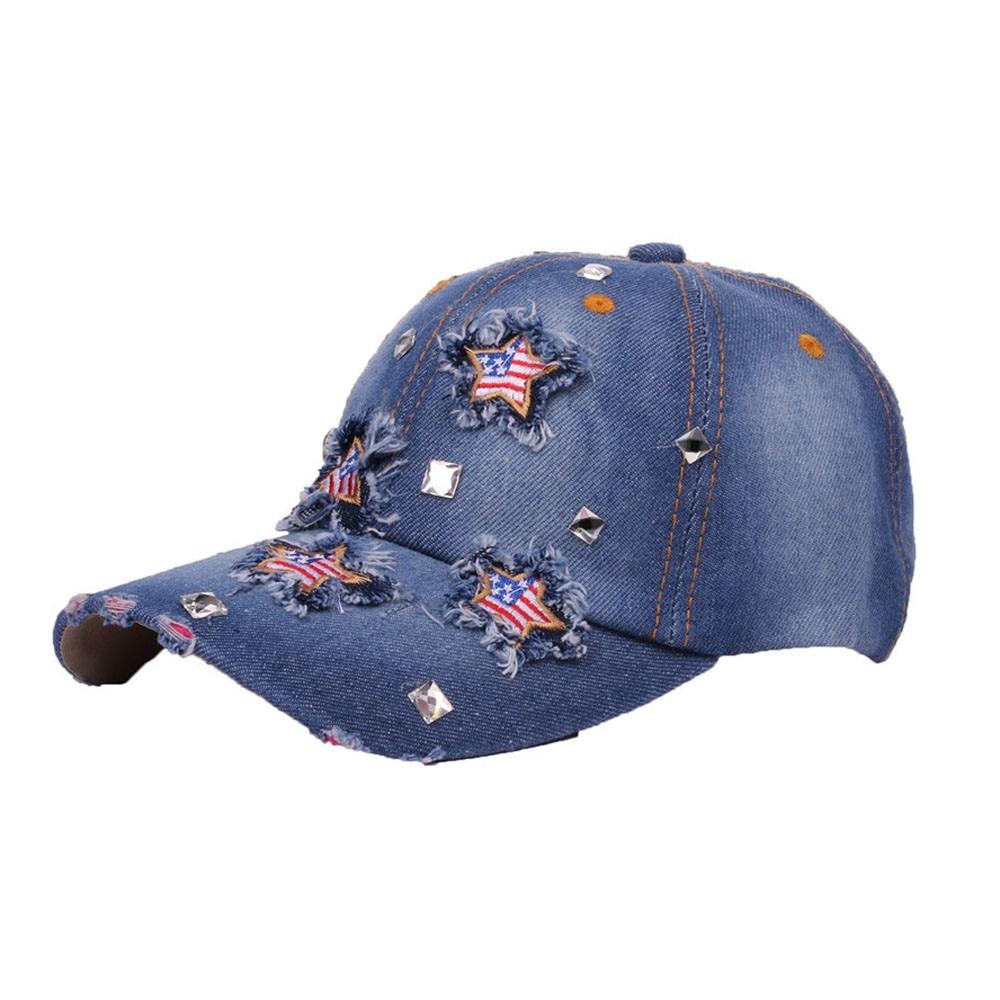 Adult Unisex Jeans Cap Adjustable Hat Cartoon Art Basketball Cotton Denim