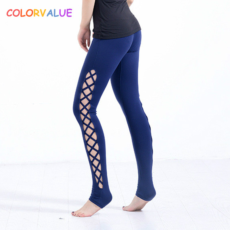 Colorvalue Sexy Side Cross Yoga Pants Women Stretchy Kam Ammonia Fitness Sport Leggings High Quality Solid Jogging Sport Tights