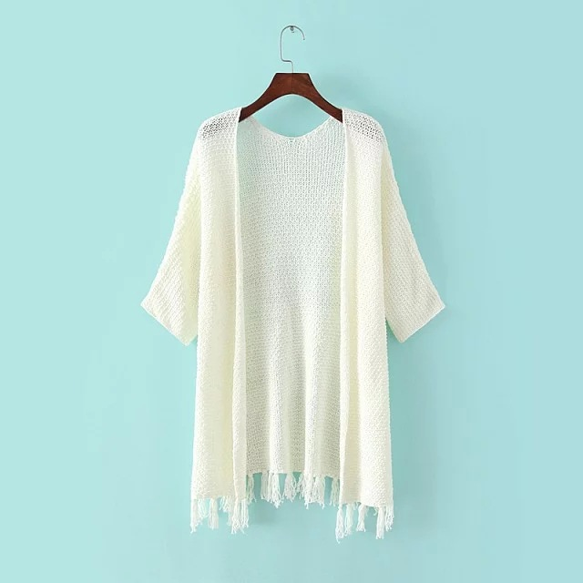 New Fashion Solid White Sweater Cardigan Half Sleeve Autumn Tassel ...