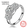 YANHUI Hot Sale Trendy original 925 Silver Jewelry Rings Set 3 Pcs AAAAA CZ Zircon Crystal Wedding Rings For Women MMSR170