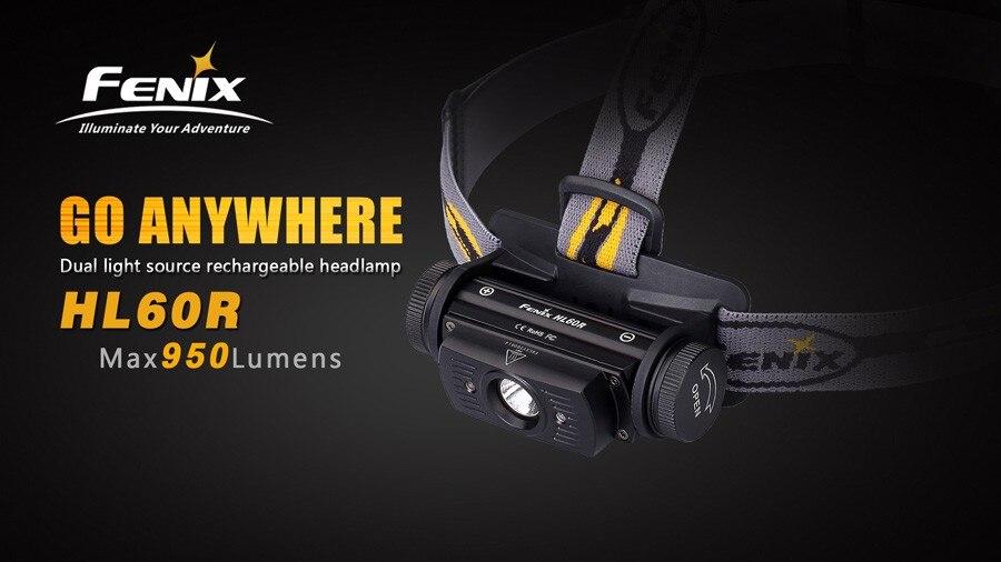 Linterna Fenix HL60R con luces LED para cabeza bater/ía de 950/l/úmenes recargable con USB