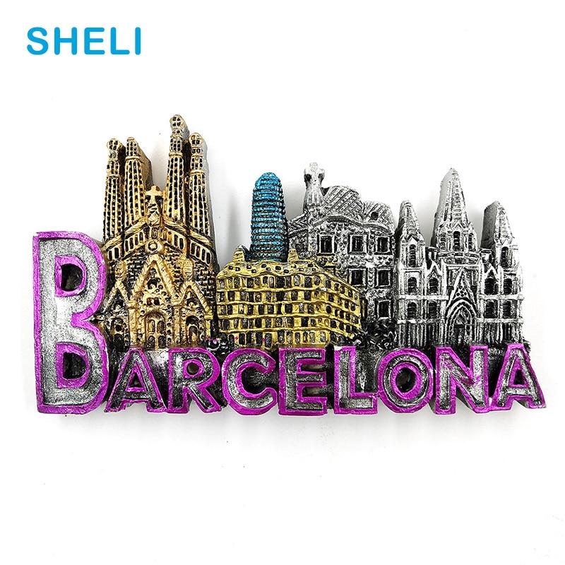 Spain Travel Souvenir Scenery Barcelona 3D High-end Resin Fridge Magnets Gift Refrigerator Magnetic Sticker Home Decoration