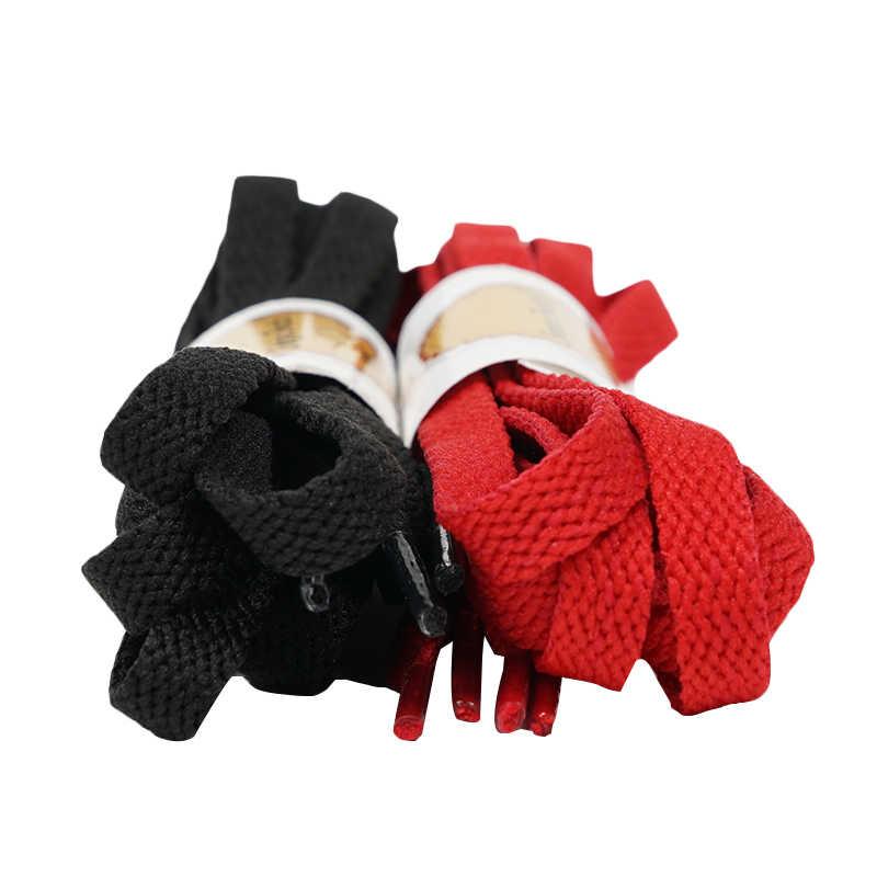 Senza Fretta 130cm Schoenveters Platte Hoge Kwaliteit Katoen Schoenveters voor Vrouwen Mannen Mode Veters Strings Zwart Rood D01940