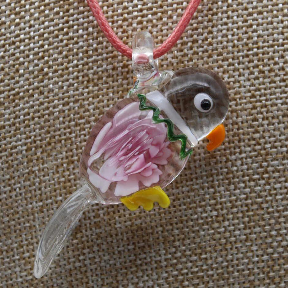 ขายส่ง 6 สี Handmade Murano Lampwork แก้ว Magpie ดอกไม้จี้สร้อยคอของขวัญร้อนสร้อยคอฟรีสายไฟ