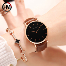 Brand Fashion Simple Japan Quartz Movement Watch Leather Strap Nylon Clock Women Analog Waterproof Wristwatch  relogio feminino