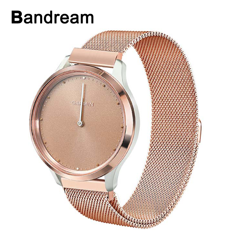 Milanese Loop Stainless Steel Watchband For Garmin Vivomove / Vivomove HR Watch Band Magnet Strap Rose Gold Belt Wrist Bracelet