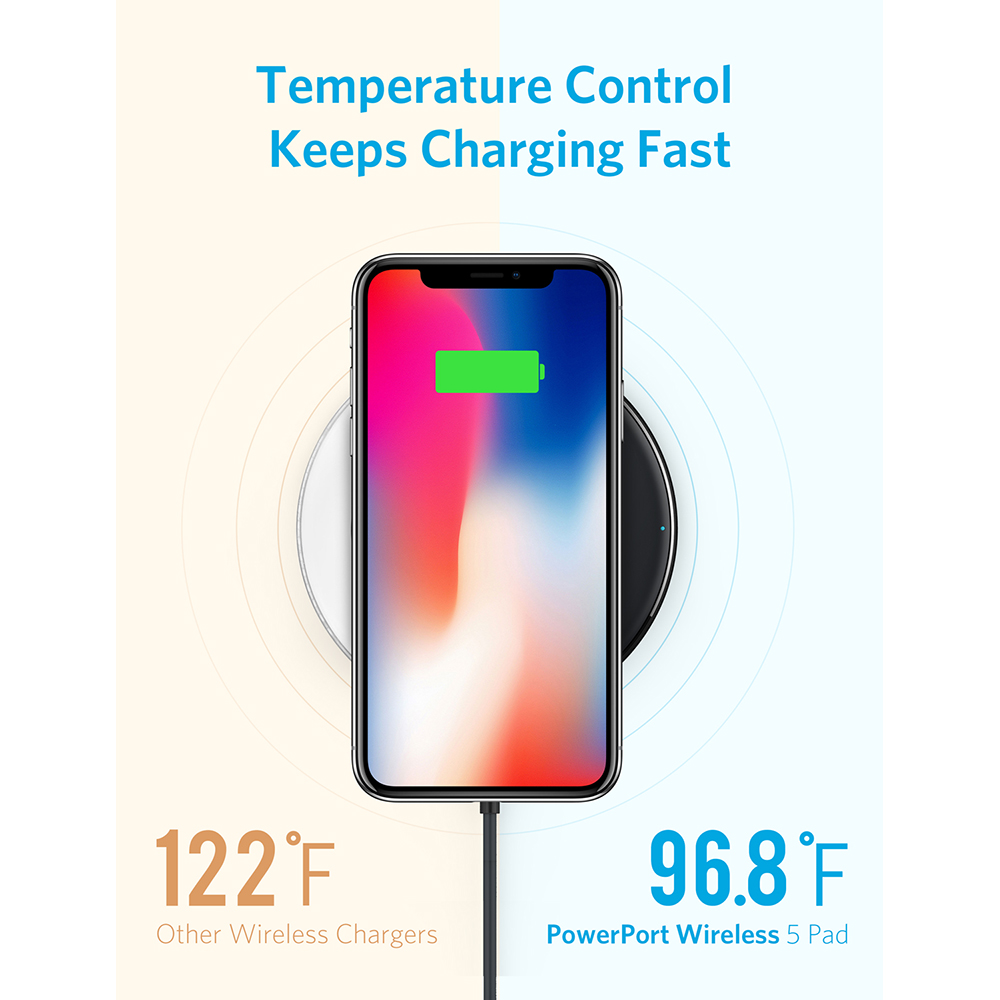 Anker Qi-Certified Ultra-Slim Wireless Charger Compatible iPhone Xs Max/XS/XR/X/8/8 Plus, Galaxy S9/S9+/S8/S8+/Note 8 and More
