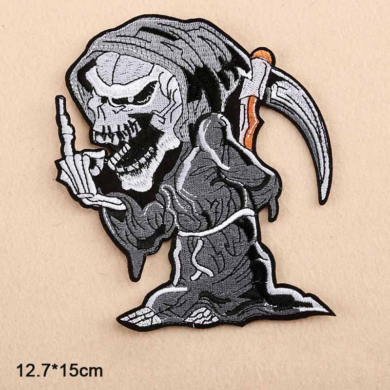 Ace Punk Myth Skull Skeleton Poker Grim Reaper, venta al por mayor, plancha sobre ropa bordada, parche para ropa, niñas y niños
