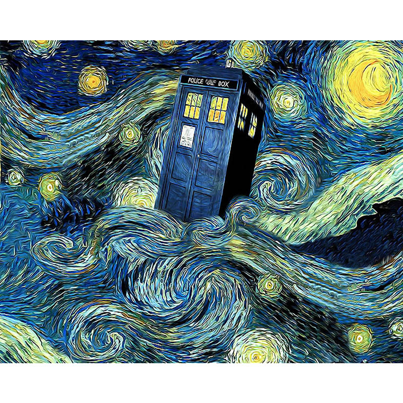 "5D DIY Diamant Malerei <font><b>Van</b></font> <font><b>Gogh</b></font> Starry Night Kreuz Stich Voller Diamanten Stickerei ""Doctor Who"" Hand Home Dekoration TY83 image"
