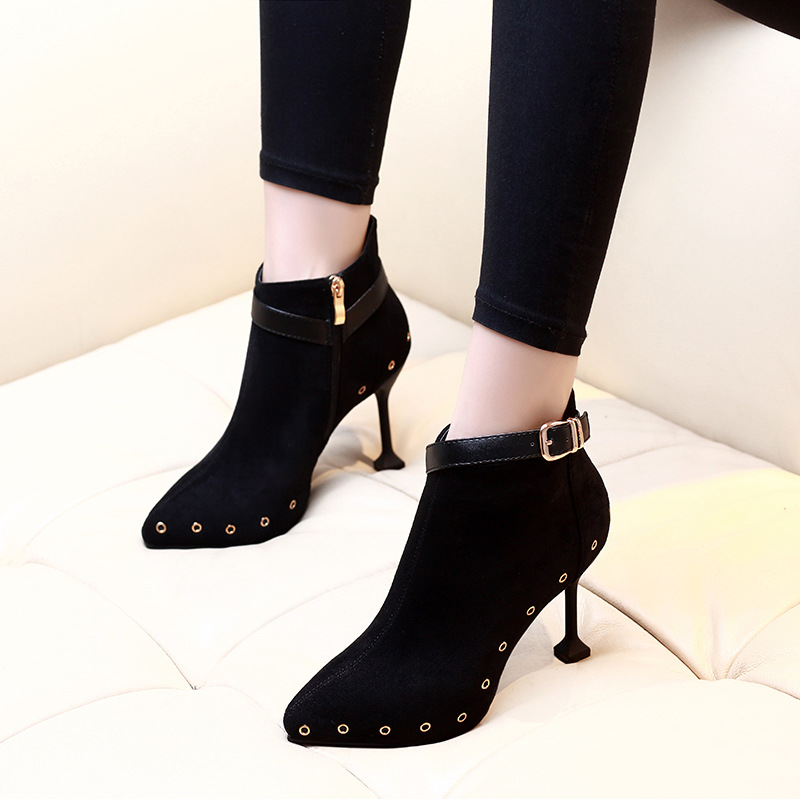 2019 femme bottes boucle mince talons hauts chaussures Zip Style occidental bout pointu solide chaussures hiver femmes bottines CH-A0112