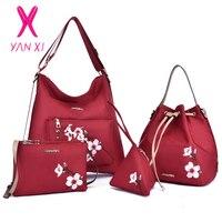 YANXI 4PCS New National Style Embroidered Female Handle Bag Embroidery Peach Blossom Lady Handbag Women Shoulder Crossbody Bags