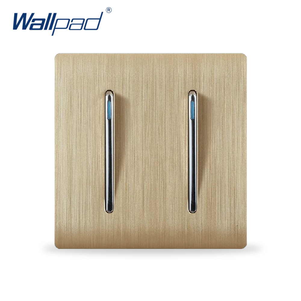 2 Gang 1 Way Wall Light Switch Wallpad Luxury Champagne Gold Color Fluorescence Push Button Switches Rocker switch Interrupteur high quality elegant milan gold large panel wall switch with fluorescence 1 gang 1 way single control lighting switch 86 type