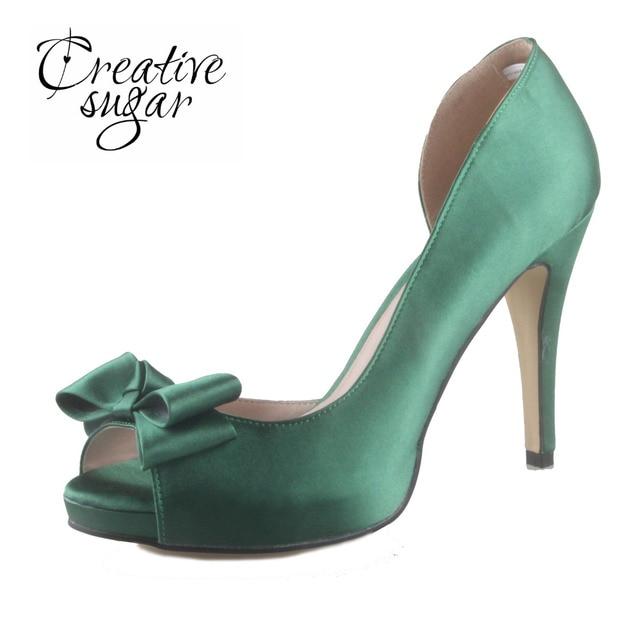 Creativesugar Handmade Dark Christmas Green Satin D Orsay Open Toe With Bow Platform High Heels
